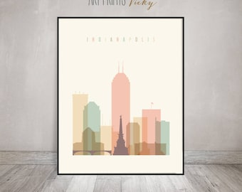 Indianapolis print, Poster, Wall art, Indiana cityscape, Indianapolis skyline, City poster, Typography art, Digital Print, ArtPrintsVicky
