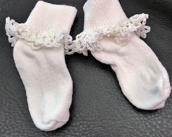 Crochet Edge Bobbie Sock