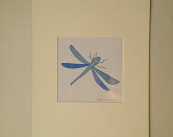 Green Dragon Fly Matted Print