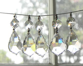 12 Leaded Cut Crystal French Pendants Chandelier Wall Sconce Candle Suncatcher LAMP PARTS 1.5""