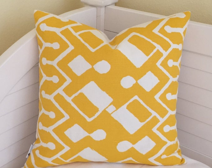 Quadrille China Seas Sahara in Taxi Cab Yellow and White Designer Pillow Cover 18x18