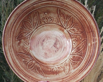 Personalizing available - Large Sturdy Bowl with Carvings in Colorado Glaze