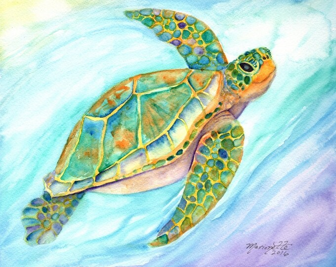 Turtle art 8x10 art prints baby shower gift beach decor nursery wall art ocean turtles sea turtle painting  honu beach cottage decor