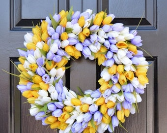 SUMMER WREATH SALE Spring Wreath- Door Wreath- Easter Wreath- Tulip Wreath- The Original Tulip Wreath, Custom Sizes and Colors