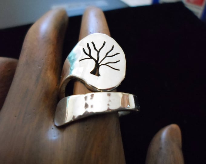 tree of life heavy  spoon ring adjustable