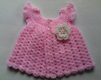 Crochet baby dress PATTERN tutorial PDF file, baby pink dress
