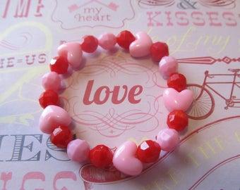 Valentine Heart Beaded Bracelet-Valentine Bracelet-Heart Bracelet-Valentine Gift-Gifts for Her-Gifts for Girls-Girls Bracelets