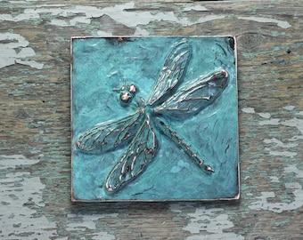 Dragonfly copper patina relief sculpture tile / plaque