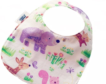 Girly Woodland FRIENDS- Infant or Toddler Bib - ADJUSTABLE snaps - REVERSIBLE plus burp cloth