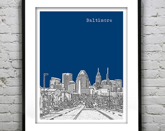 Baltimore Skyline Poster Art Print Maryland MD  Item T1334