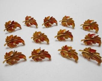 Six (6) Pairs of Matching Enamel Leaves Pierced Earrings (6434)