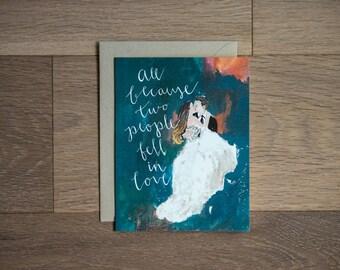 Carte de mariage - fiançailles de jeunes mariés - carte de voeux-