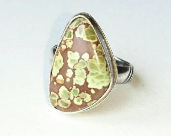 Sterling silver handmade Treasure mountain turquoise ring, hallmarked in Edinburgh