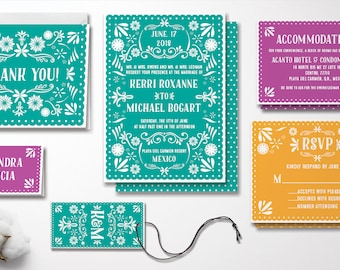 Fun and Bright Mexican Inspired Wedding Invitation Set
