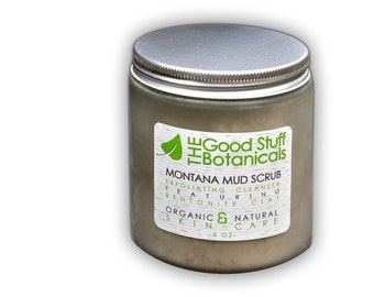 Montana Mud Scrub: Gentle buffs away impurities, dead skin cells, oil and dirt while detoxing your skin leaving it smooth and soothed.