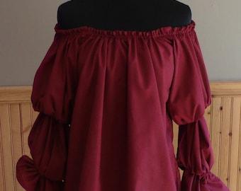 Pirate Wench Gypsy Renaissance Blouse Chemise Costume Burgundy