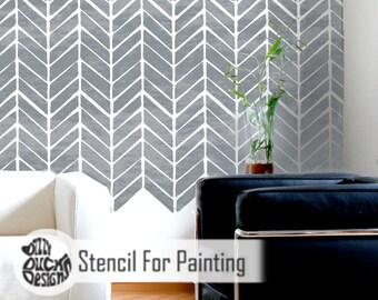 HERRINGBONE STENCIL - Modern Fishbone Wall Floor Furniture Craft Stencil for Painting - HERR01