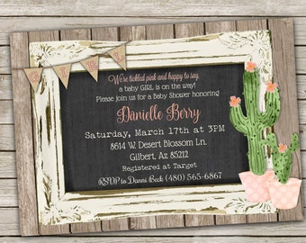 Cactus Baby Shower Invitation for Baby Girl