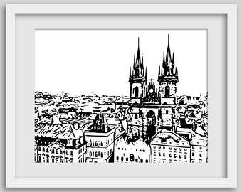 Cathedral Print, Prague Art, European Architecture, Castle Print, Architectural Print, Urban Print, Black & White, Eastern European