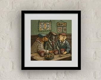"Framed ""Irish Coffee"" Print Labrador Retriever Art 16""x16"""