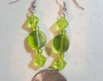 Translucent Lime Green Earrings