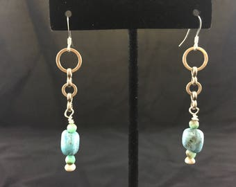 Chain and Turquoise Earrings