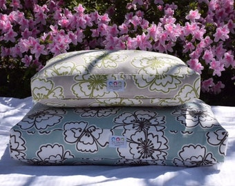 Modern Floral Dog Bed || Medium Large || Lilly Inspired Tan Apple Green || Custom Cover || Stylish Puppy Dog Bed by Three Spoiled Dogs