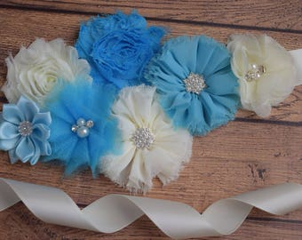 Turquoise ivory sash ,flower Belt, maternity sash, wedding sash, flower girl sash, maternity sash belt