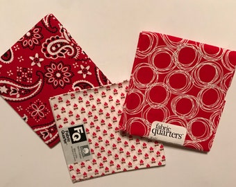 3 Fat Quarters - Fabric Quarters, Deep Red Prints for sewing, quilting