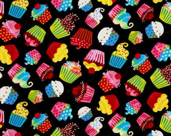 Cupcakes on Black from Timeless Treasures Fabrics