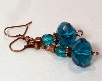 Teal & Copper Earrings - Elegant Teal Earrings with Faceted Glass Crystals, Nickle-Free Antique Copper Finish Earwires, Ready to Ship