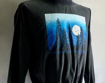 Vintage Men's 80's Cotton Sweatshirt, Oregon, Black, Long Sleeve, Pull Over (L)