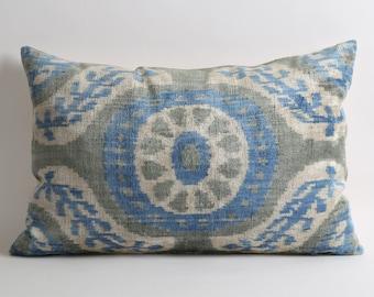 Ikat Velvet Pillow Cover - Grey Light Blue Ivory Velvet Silk Ikat Handwoven Decorative Throw Modern Home Decor Lumbar Cushion Cover Case