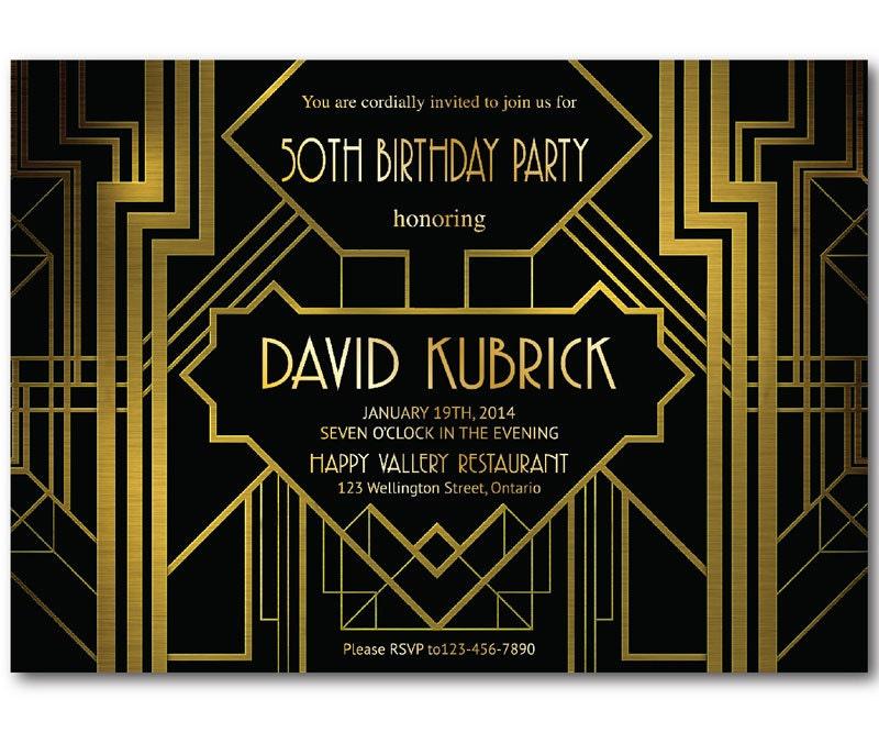 Great Gatsby Birthday Invitation. 30th 40th 50th 60th 70th
