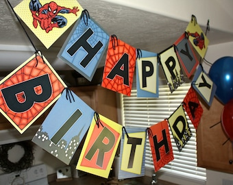Spiderman Vintage Happy Birthday Party Banner- Printable DIY PDF Only