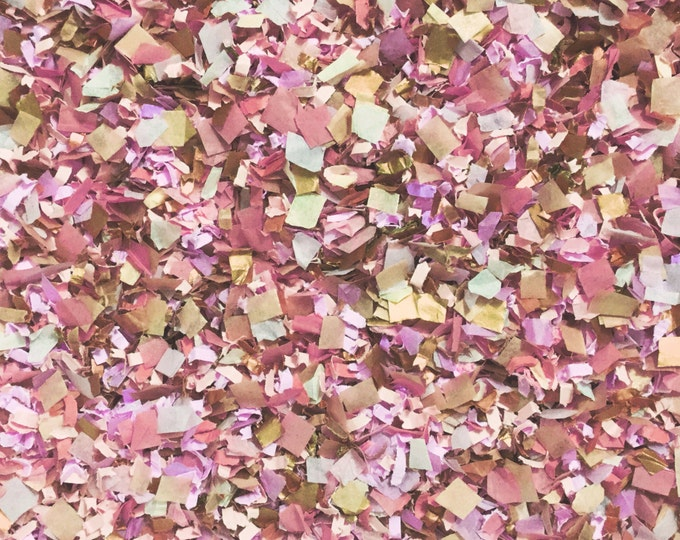 Featured listing image: Pink Peach Rose Gold Bronze Copper Confetti Wedding Baby Girl Shower Bridal Shower Dusty Pink Blush Vintage InsideMyNest (25 Guests)
