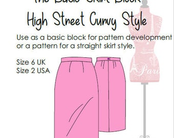 Basic Skirt Block- Drafted To High Street Curvy Measurements - Size 6 UK - Size 2 USA- use as a basic sloper or to make a skirt pattern!