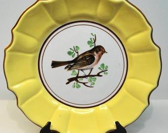 "VINTAGE ITALIAN PORCELAIN Bird Luncheon Plate 8 1/4"""