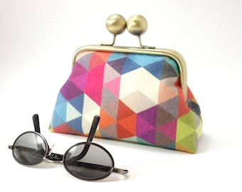 Purse with clasp, Harlequin / Metal frame wallet, kiss lock makeup storage / Geometrical pattern,  multicoloured patchwork like triangles
