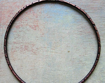 Antiqued Notched Pure Copper Hoop Pendant - 2 inch - 14 gauge