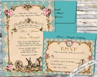Alice in Wonderland Wedding invitation. Mad hatter tea party wedding invitations. Elegant unique Wedding invites, custom wedding invitations