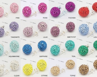 6MM - Swarovski Crystal Rhinestone Disco Ball 925 Sterling Silver Studs Earrings  - Pick Your Color!