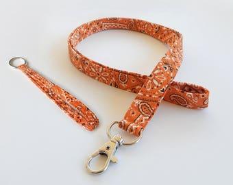 Bandana Lanyard Set / Orange Bandana / Orange Keychain / Cute Lanyards / Bandanna / Teacher Lanyard / Fabric Lanyards / Badge Holder