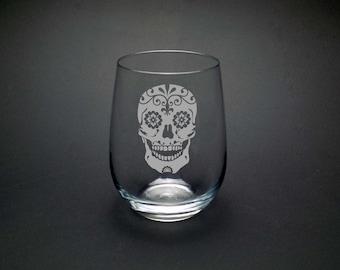 Sugar Skull Stemless Glass - Dia de los Muertos Glass - Mexican Skull Glass - Day of the Dead Glass - Bridal Sugar Skull Glass