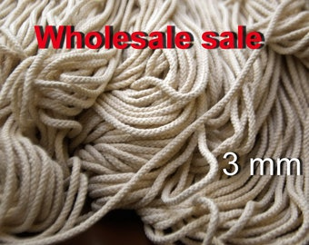 "Natural Cotton Macrame Cotton Cord Macrame Cord Wholesale cord 3 mm (1/8"") Bulky Yarn Braided Cord for Natural cotton cord Macrame rope"