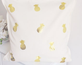 Mini Gold metallic pineapple pillow cover