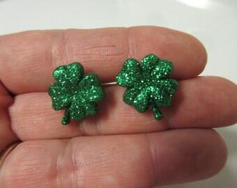 FREE SHIPPING! Glitter Shamrock Stud Earrings-St. Patrick's Day Earrings