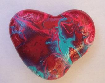 Heart shaped painted stone art, altar art, fluid abstract heart rock, anatomy gift, desk decor, pocket art, painted rock
