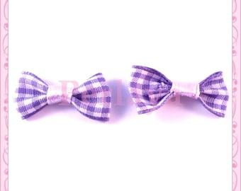 Set of 5 purple gingham REF1283 knots