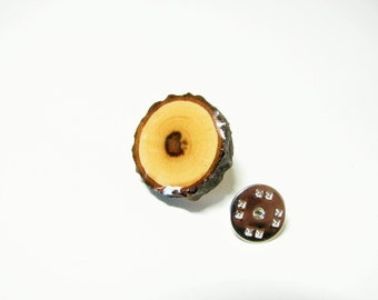 Hawthorn Wood Lapel Pin  -  Tie Tack  -  Handmade  -  Gift Box Included